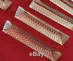 12 Antique Hand Cut Crystal Knife Rests Lead Crystal Hungary Box Pyramid