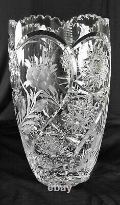 12 Large Heavy Crystal Vase Great for tall Arrangements 24% Lead with deep cuts
