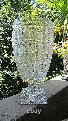14 Tall 6 Top Bohemian Czech Queen Anne Lace Cut 24% Lead Crystal Footed Vase