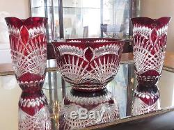 1-Huge Ajka Crystal, Claresta Gold Ruby Red 24% Lead Cut to Clear Bowl, Hungary