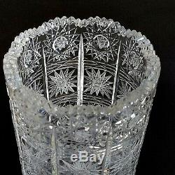 1 (One) BOHEMIAN CRYSTAL QUEENS LACE Vintage Hand Cut Lead Crystal 11.75 Vase