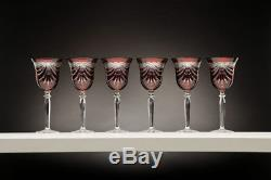 24 Lead Crystal Set of 6 Hand Made Wine Glasses in Red withDrape Cut