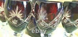 24% Lead RED Crystal HAND CUT DECANTER & 6 LIQUER SHERRY GLASSES £145 NEW SALE