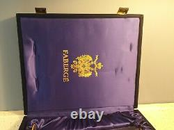 2 FABERGE Cut To Clear Cobalt Blue Lead Crystal Champagne Flute Cordial Signed