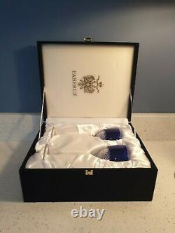 2 FABERGE Cut To Clear Cobalt Blue Lead Crystal Wine Glass Goblet Signed Case RU
