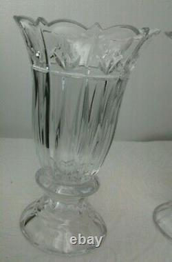 2 Large 10 Tall Clear Lead Crystal Heavy Cut Vase Spring Flowers Scalloped Rim