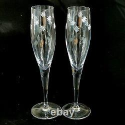 2 (Two) TIFFANY & CO DAISY Cut Lead Crystal Champagne Flutes-Signed DISCONTINUED