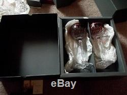 (2) Wine Hocks Glasses, Waterford Lead Crystal Clarendon Ruby Red Cut to Clear