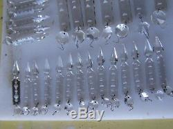 37 Vintage Leaded Hand Cut Spear Crystals Chandelier Fixtures Parts