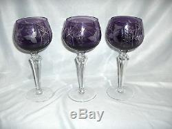 3 Vintage Bohemian Lead Cut Crystal Amethyst To Clear Wine Goblets Etched NICE