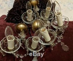 3 x Vintage Marie Therese Wall Lights Trio Bohemia Lead Crystal & Cut Glass
