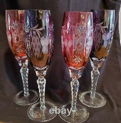 4 AJKA Hungarian Red & Amethyst Cut to Clear Lead Crystal Champagne Flutes