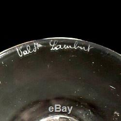 4 (Four) VAL ST LAMBERT RIVIERA CLEAR Cut Lead Crystal Water Glasses D/C-Signed