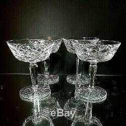 4 (Four) WATERFORD TYRONE Cut Lead Crystal Champagne Tall Sherbet Glasses Signed