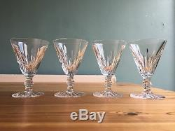 4 Waterford Ireland Cut Lead Crystal EILEEN Red Wine Claret Glasses Stems 5 1/4