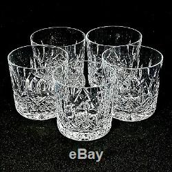 5 (Five) WATERFORD LISMORE Cut Lead Crystal Old Fashion Glasses-Signed