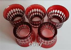 5 pcs AJKA RUBY RED CASED CUT TO CLEAR LEAD CRYSTAL WHISKEY GLASSES
