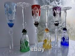 6 Faberge Czar Multicolor Cased Cut To Clear Crystal 8 1/2 Cordial Sherry