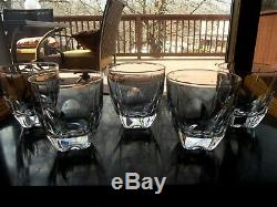 (6) Old Fashioned Glasses Rocks Tumblers cut Lead Crystal Bombay co square base