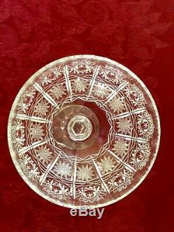 6 Vintage Bohemian Lead Crystal Champagne Coupes, Hand Cut Queen Lace, 1988