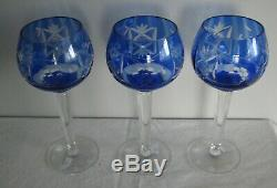 6 mixed CUT TO CLEAR LEAD CRYSTAL goblet grape German purple blue red vintage