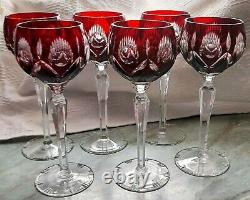 6 pcs AJKA / BOHEMIAN CASED CUT TO CLEAR CRYSTAL WINE HOCK GLASSES, NOT MARKED