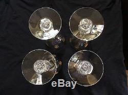 8 GOLD ENCRUSTED TIFFIN PALAIS VERSAILLES Cut Crystal Goblets Hollywood Glam
