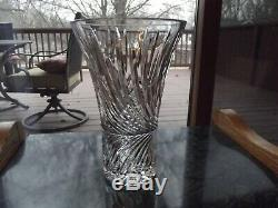 9-1/2 Flower VASE Germany Lausitzer Glass 24% Lead Crystal vintage cut swirl