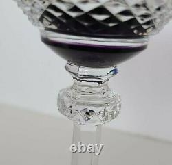 AJKA Bohemian Multi Color Cut TO CLEAR CRYSTAL 7.5 WINE GOBLETS Set of 12