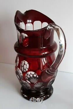 AJKA Bubbles Ruby Red Cased Cut to Clear Lead Crystal Pitcher
