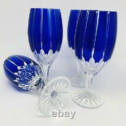 AJKA Cobalt Blue Case Cut To Clear Crystal Tea Water Goblets Hungarian Lead