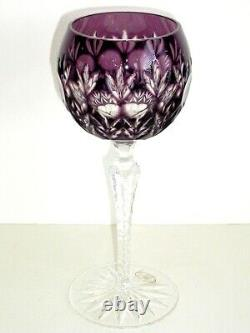 AJKA FLORDERIS AMETHYST CASED CUT TO CLEAR CRYSTAL 8 WINE GOBLETS Set of 4