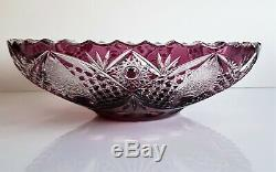 AJKA PURPLE CASED CUT TO CLEAR LEAD CRYSTAL FRUIT or CENTERPIECE BOWL, 11,2 Tall