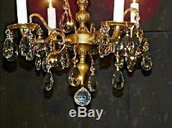 ANTIQUE French 4 Arm 4 Lite Petitie Darlingest Brass Cut Lead Crystal Chandelier