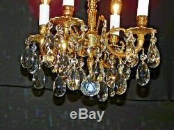 ANTIQUE French 4 Arm 4 Lite Ultra Petite FUSSY Brass Cut Lead Crystal Chandelier
