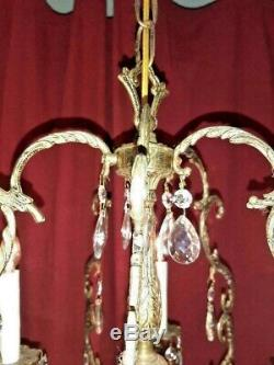 ANTIQUE French 5 Arm 5 Lite French BIRDCAGE Brass Cut Lead Crystal Chandelier