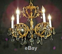 ANTIQUE French 5 Arm 5 Lite French Cut Lead Crystal BONNY Brass Chandelier