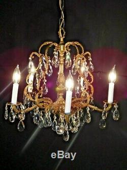 ANTIQUE French 5 Arm 5 Lite French Cut Lead Crystal Brass BIRDCAGE Chandelier