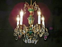 ANTIQUE French 5 Arm 5 Lite Green Empire Cut Lead Crystal Brass Chandelier