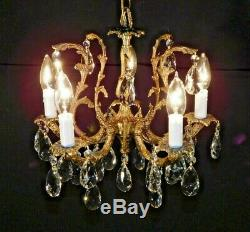 ANTIQUE French 5 Arm 5 Lite Ultra Petite Brass Cut Lead Crystal Chandelier