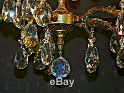 ANTIQUE French 5 Lite Brass Cut Lead Crystal DARLINGEST Chandelier (2 Available)