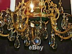 ANTIQUE French 5 Lite French Green Empire Brass Cut Lead Crystal Chandelier