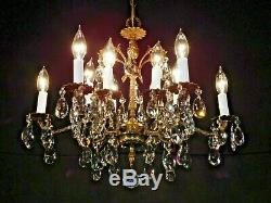 ANTIQUE French 6 Arm 12 Lite Brass Rococo European Cut Lead Crystal Chandelier