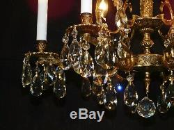 ANTIQUE French 6 Arm 6 Lite BONNY GLISTENING Brass Cut Lead Crystal Chandelier