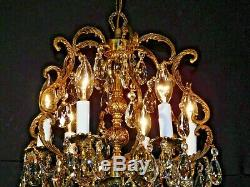ANTIQUE French 6 Arm 6 Lite Brass Rococo Birdcage Cut Lead Crystal Chandelier