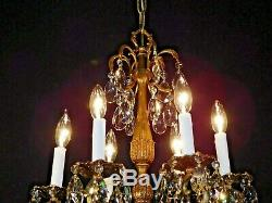 ANTIQUE French 6 Arm 6 Lite Bronze Brass Cut Lead Crystal MESMERIZING Chandelier