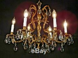 ANTIQUE French 6 Arm 6 Lite GLEAMING Bronze Brass Cut Lead Crystal Chandelier