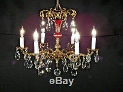 ANTIQUE French 6 Arm 6 Lite OXBLOOD Empire Cut Lead Crystal Brass Chandelier