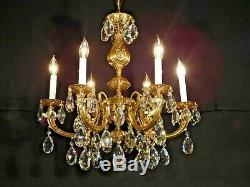 ANTIQUE French 6 Arm 6 Lite Rococo Brass Cut Lead Crystal Chandelier (2 Avail)