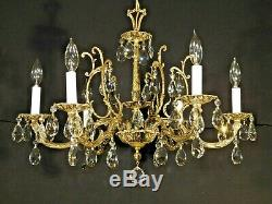 ANTIQUE French 6 Arm 6 Lite STATELY Bronze Brass Cut Lead Crystal Chandelier